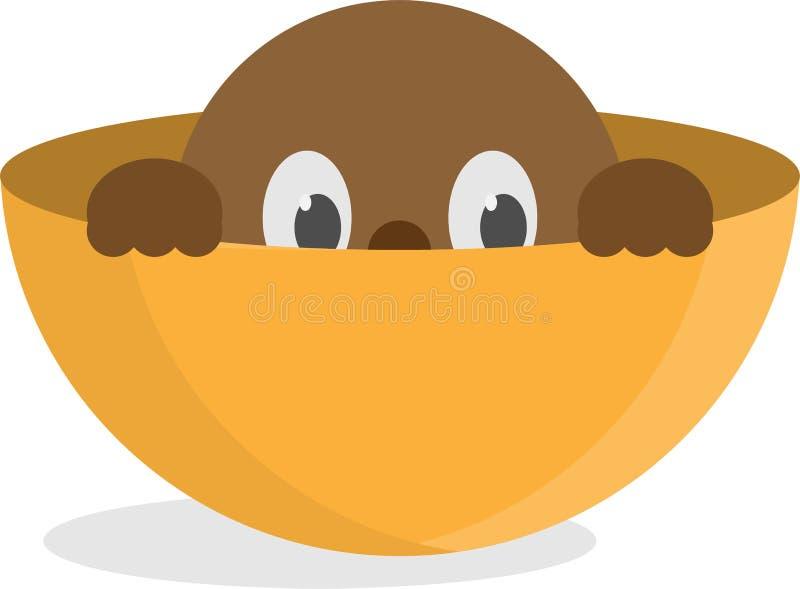 Eine Zeichentrickfilm-Figur, die in einem halben Ei, ein Bereich sich versteckt stock abbildung