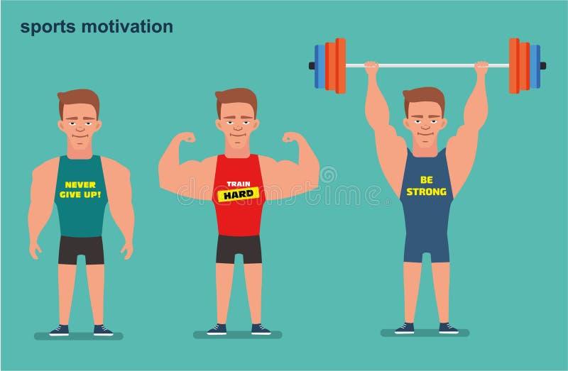 Eine Zeichentrickfilm-Figur, ein starker Mann, der Athlet Sportmotivation Flache Illustration lizenzfreie abbildung