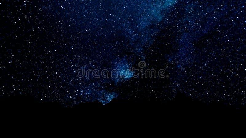 Eine Zeitspanne einer sternenklaren Nacht mit einem Schatten eines Baums im Vordergrund und mit einem Sternhintereffekt Milchstra lizenzfreie stockbilder