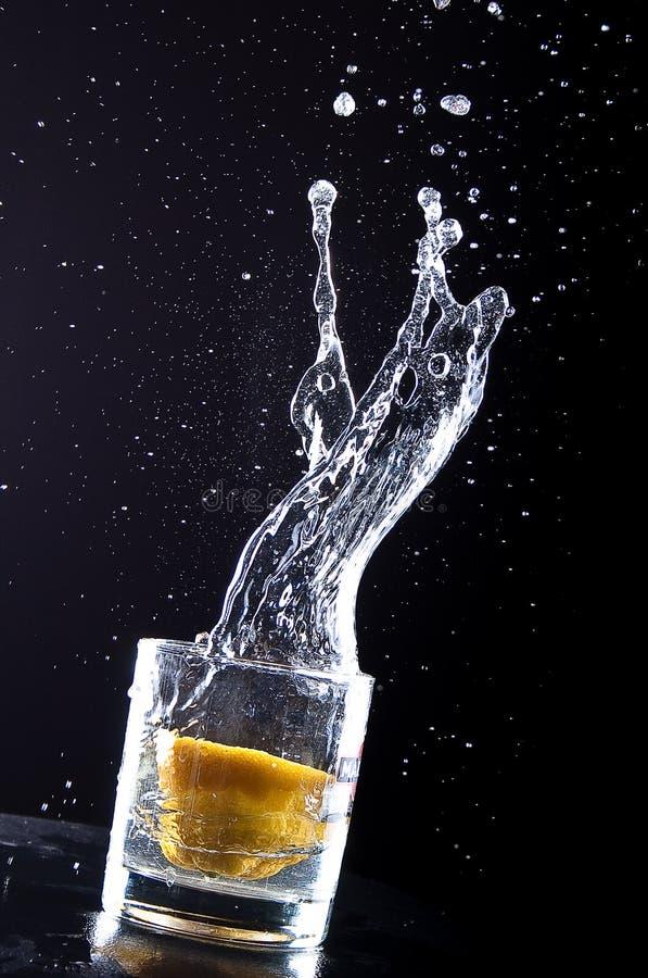 Eine Zitrone fällt in Glas stockfotos