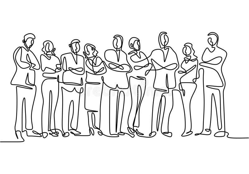 eine Zusammenstellung des Geschäftsteams Ständige Arbeiter handgezeichnet Skizze minimalistisch lizenzfreie abbildung