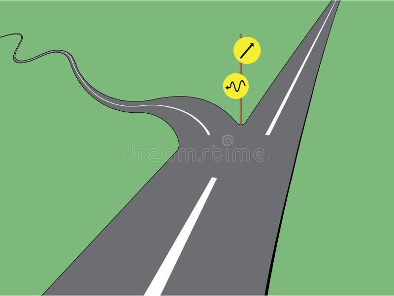 Eine Zweiwegasphaltstraße mit geradem Weg und curvy Weg mit Richtungen für Vergleich lizenzfreie abbildung