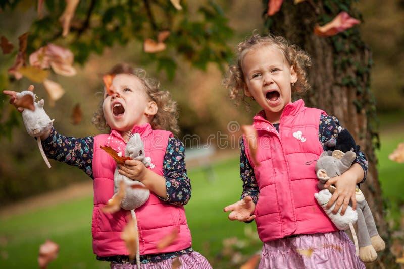 Eineiige Zwillinge, die Spaß mit Herbstlaub, blonde nette gelockte Mädchen, glückliche Familie, schöne Mädchen in den rosa Jacken lizenzfreies stockbild