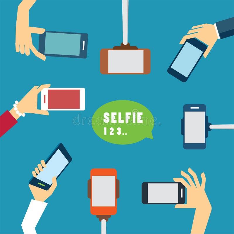 Einem selfie Foto flaches Design nehmen stock abbildung
