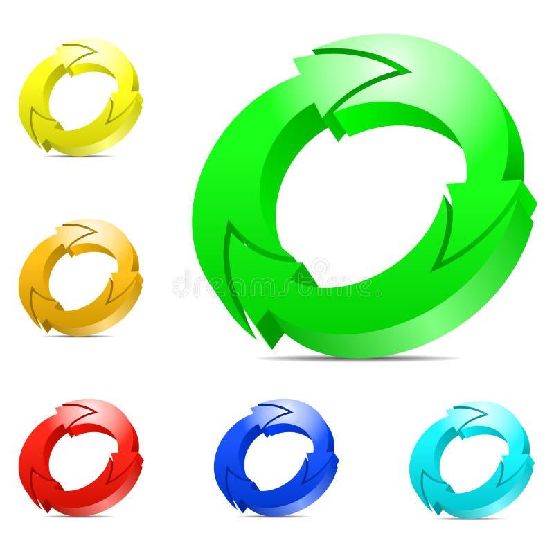 Einen.Kreislauf.durchmachenpfeile. stock abbildung