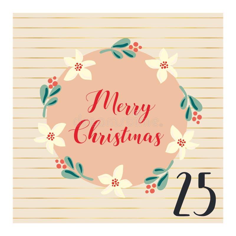 Einführungskalender mit Handgezogener Vektor Weihnachtsfeiertagsillustration für den 25. Dezember Mistelzweigblumenkranz Für Plak stock abbildung