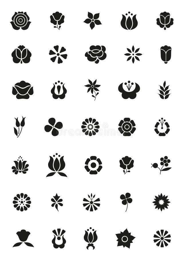 Einfach Blumenikonen lizenzfreie abbildung