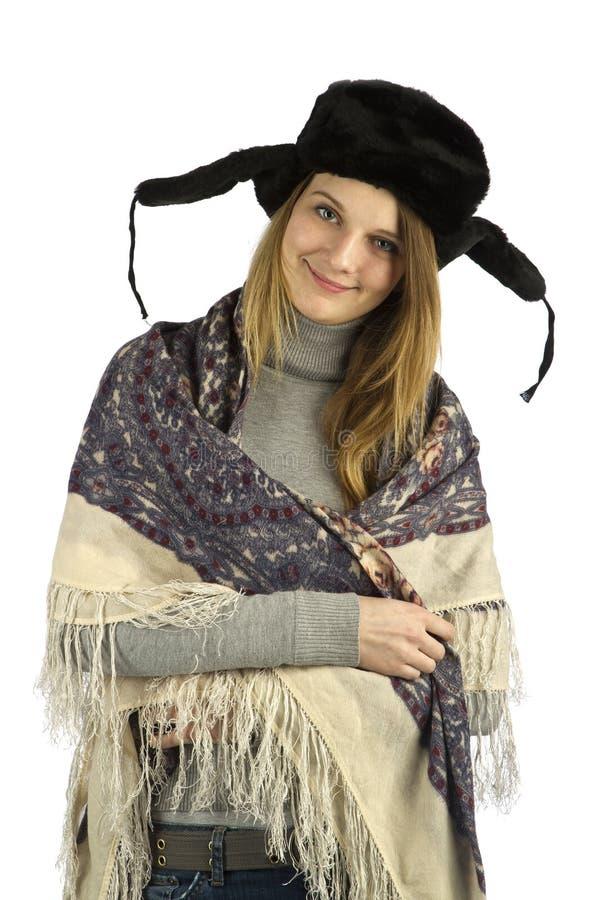 Einfach Mädchen in earflapped Hut stockfotografie