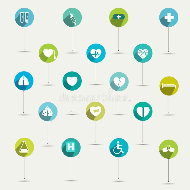 Einfach minimalistic flaches Krankenhaus und medizinischer Symbolikonensatz vektor abbildung