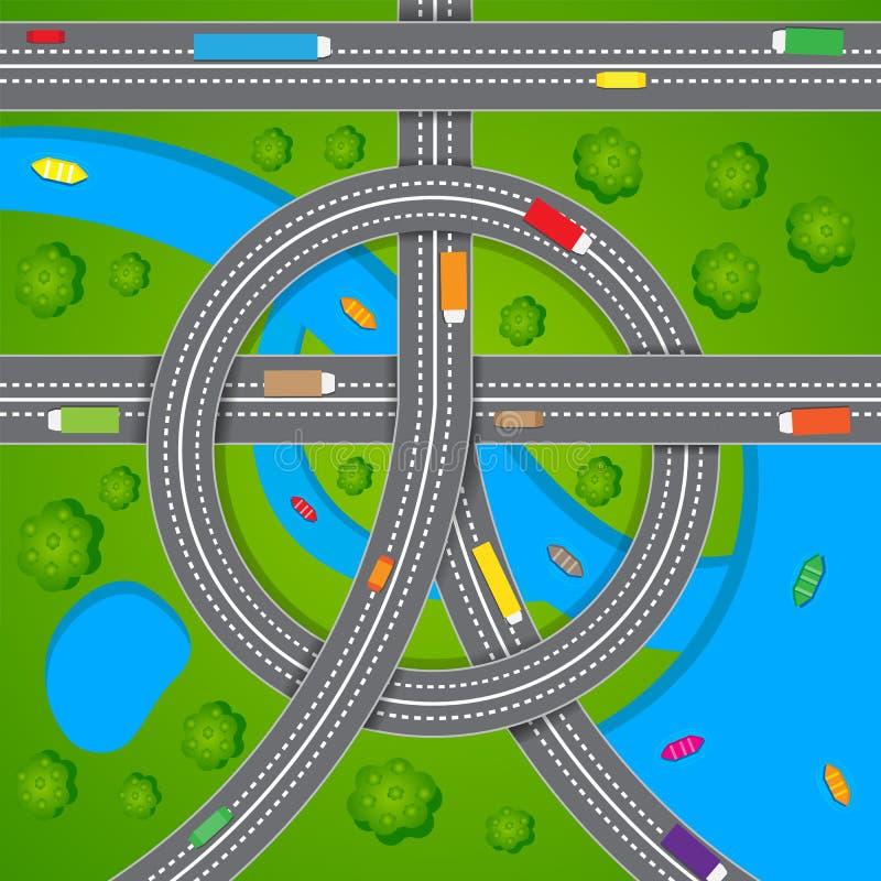 Luftaufnahme des Straßen-Verkehrs lizenzfreie abbildung