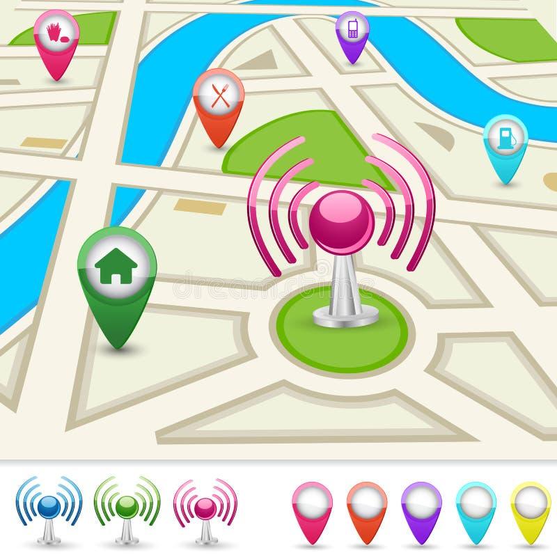 Straßenkarte für GPS-Anwendung stock abbildung