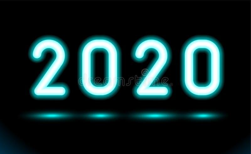 Einfach von glühenden Neonnr. 2020 Beleuchtung des neuen Jahres für Entwurf auf schwarzem, dunklem Hintergrund Leuchtstoffgegenst stock abbildung