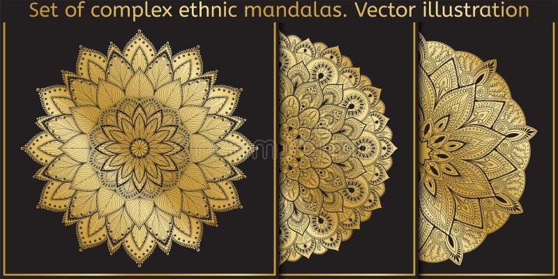Einfach zu bearbeiten Schablone für die Schaffung des Logos, Ikone, Symbol, Emblem, Monogrammrahmen Indisches dekoratives Muster  lizenzfreie abbildung