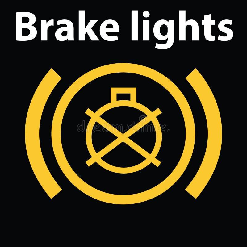 Einfache belichtete Armaturenbrettikone des Bremslichtausfalls Warnende Armaturenbrettikone, DTC-Code stock abbildung