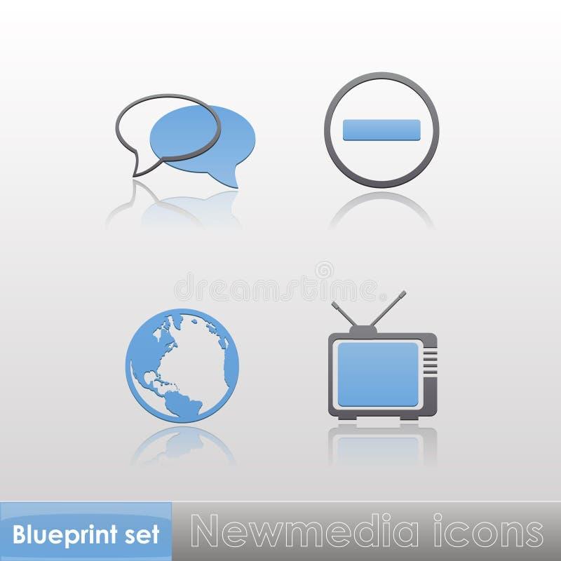 Einfache blau-graue neue Ikonen der Medien (Kugel, Fernsehen, Stoppschild, Gespräch) mit Reflexion lokalisiert auf neutralem Hinte vektor abbildung