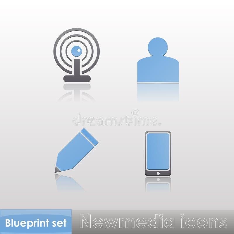 Einfache blau-graue neue Ikonen der Medien (Wi-Fi, Mitglied, schreiben, Telefon), mit Reflexion lokalisiert auf neutralem Hintergr stock abbildung