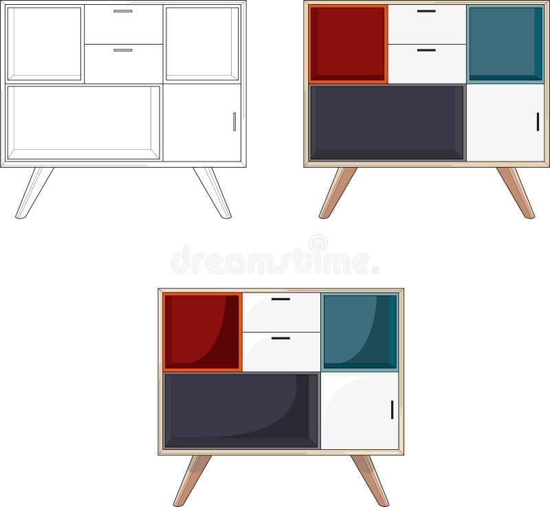 Einfache bunte Lagerung, Vektorillustration der unterschiedlichen Arten Fernseheinheit drei stock abbildung
