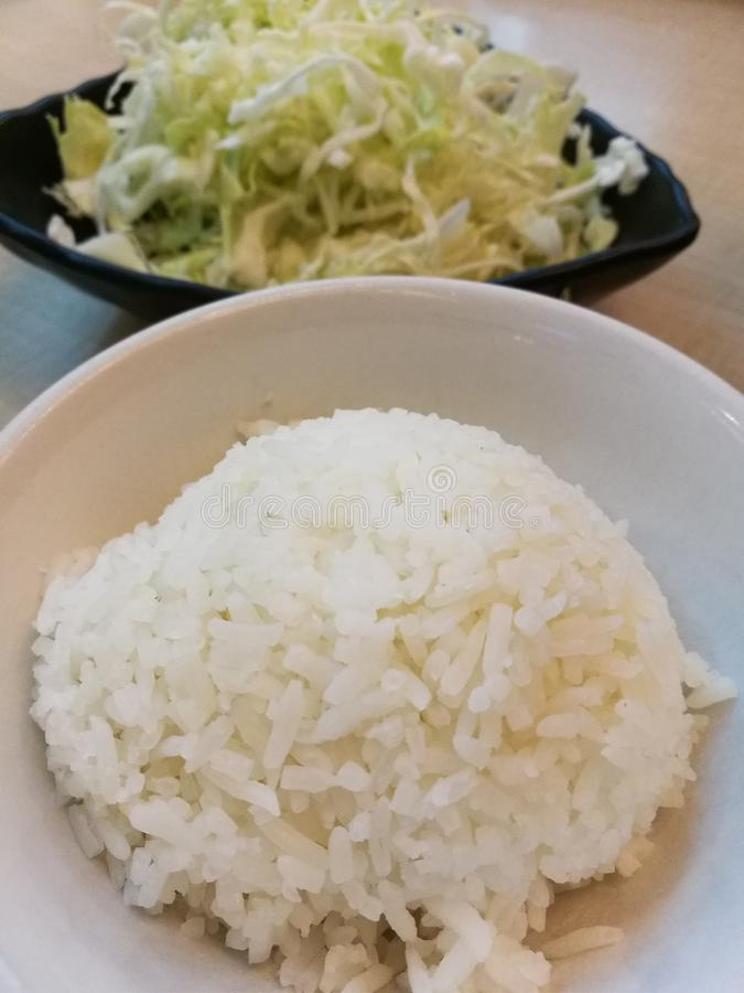 Einfache Dampfreisschale und frischer Scheibenkohl, stellten Mahlzeit, Mittagessensatz ein stockfoto