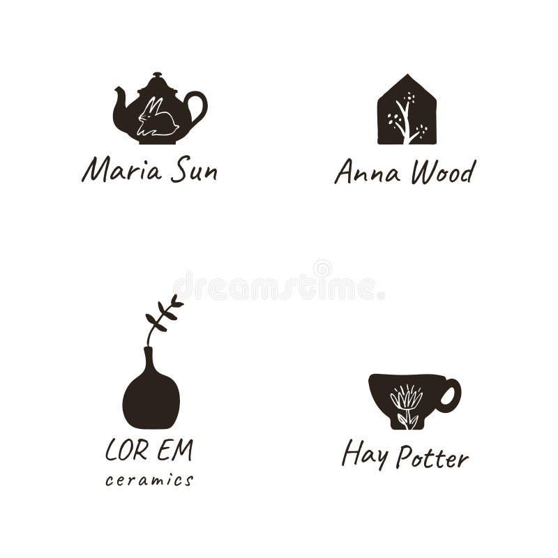Einfache, elegante und stilvolle Sammlung moderne Hand gezeichnete Logos und Illustrationen, Handwerk und handgemachtes Konzept vektor abbildung