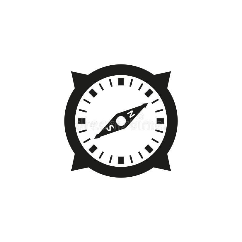 Einfache Entwurfsvektor-Kompassschwarzweiss-ikone stock abbildung