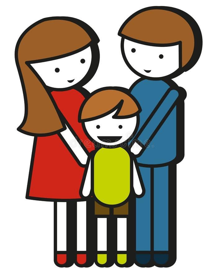 Einfache Familienzeichnung mit Eltern und Kind lizenzfreie abbildung