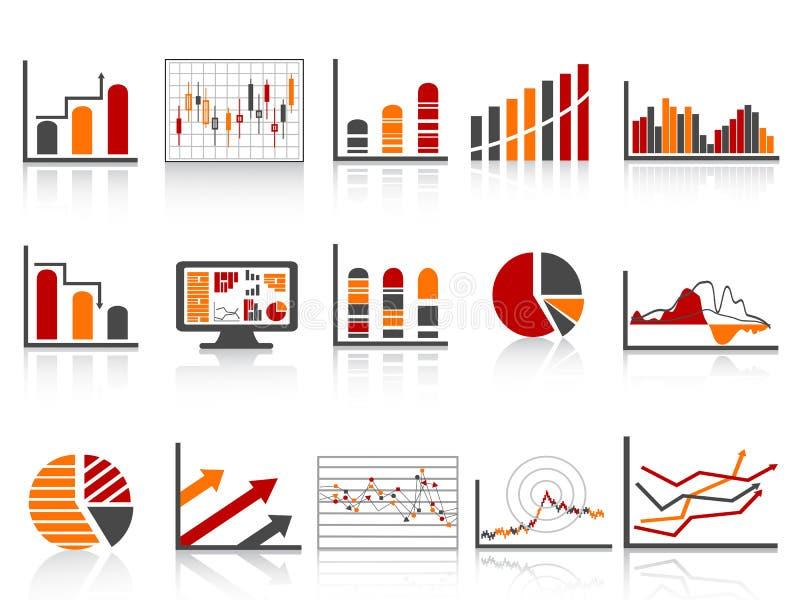 Einfache Farben-Finanzverwaltung berichtet über Ikone vektor abbildung
