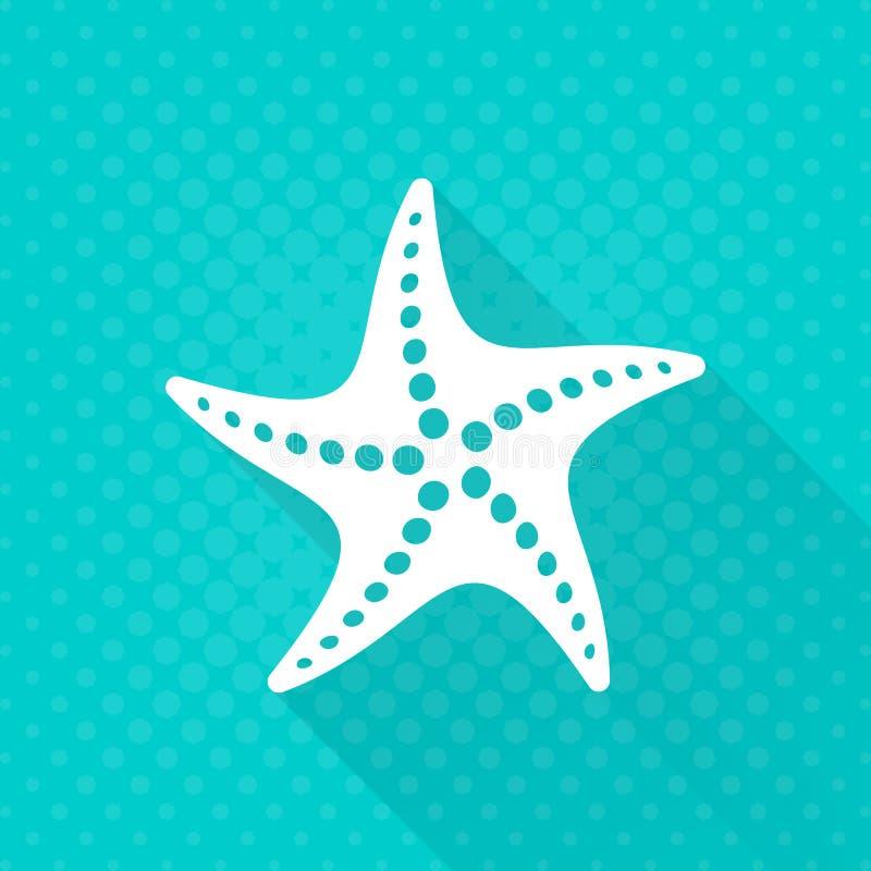 Einfache flache Ikone der weißen Starfish lizenzfreie abbildung