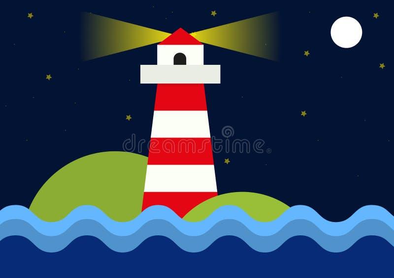 Einfache flache Illustration des Leuchtturmes während der Nacht lizenzfreie abbildung