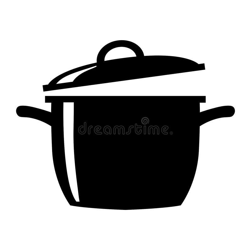 Einfache, flache, kochende Topfschattenbildschwarzweiss-illustration lizenzfreie abbildung