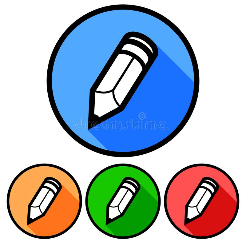 Einfache, flache, Kreisbleistiftikone Vier Farbveränderungen Lokalisiert auf Weiß stock abbildung