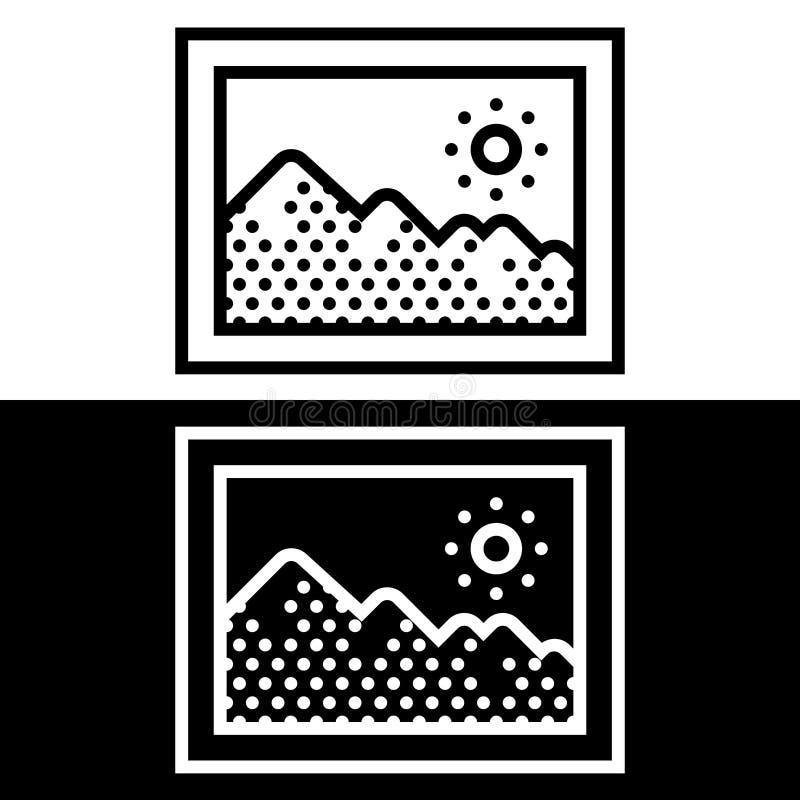 Einfache, flache, Schwarzweiss-Bilderrahmenikone vektor abbildung