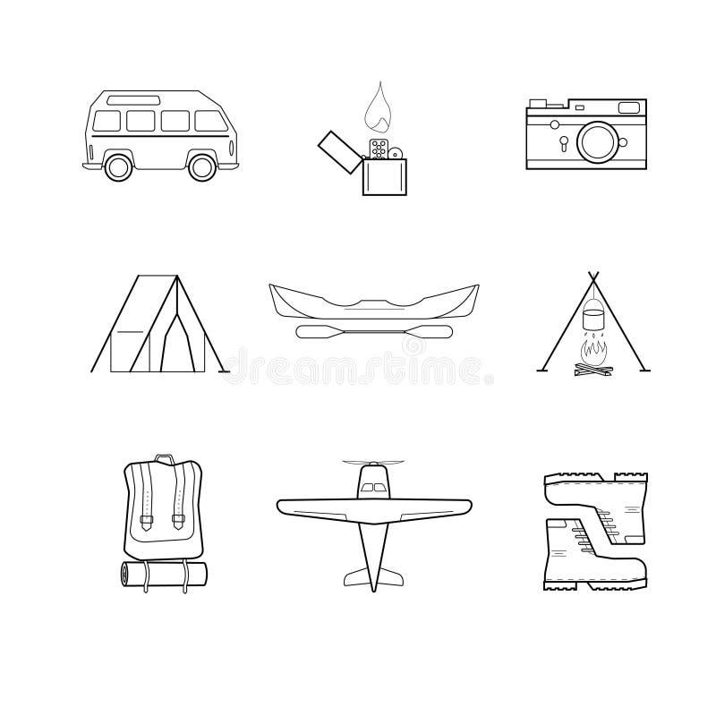 Einfache flache touristische Ikonen stockbilder