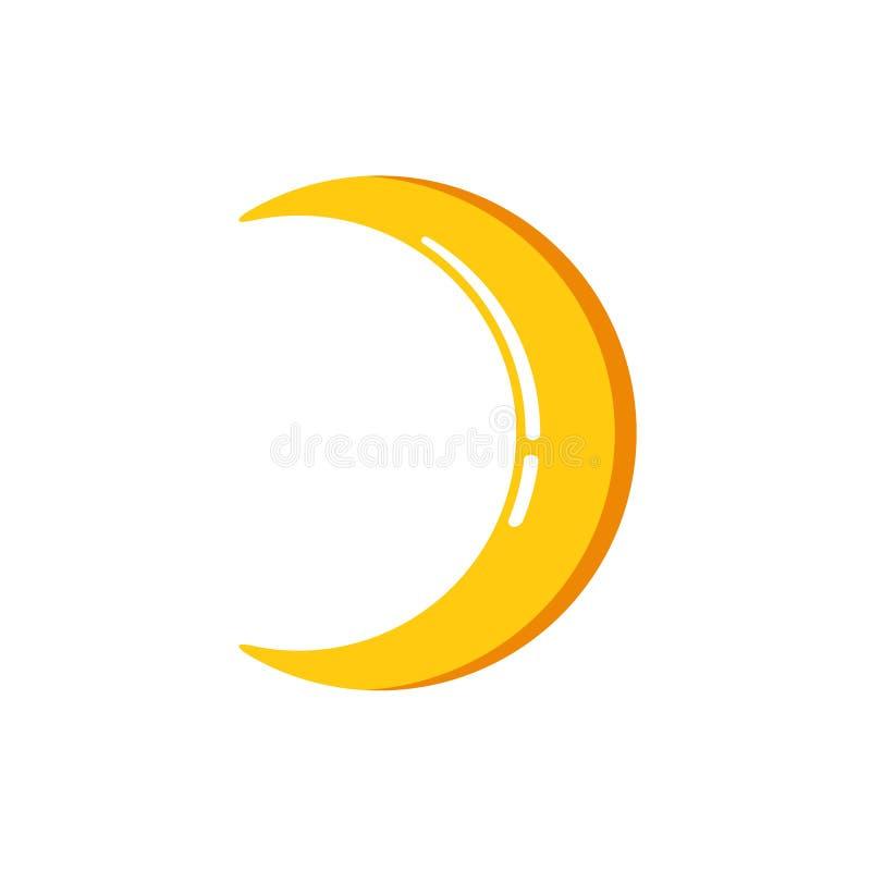 Einfache flache unbedeutende sichelförmige Mondikone stock abbildung