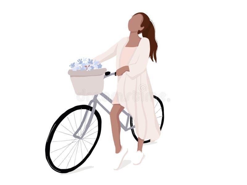Einfache Frau auf Fahrradillustration Flaches Mädchen auf moderner Lebensstilfreizeit des Fahrrades Städtische Aktivität Vektorab lizenzfreie abbildung