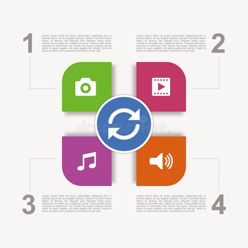 Einfache geänderte infographic Darstellung der Multimedia lizenzfreie abbildung