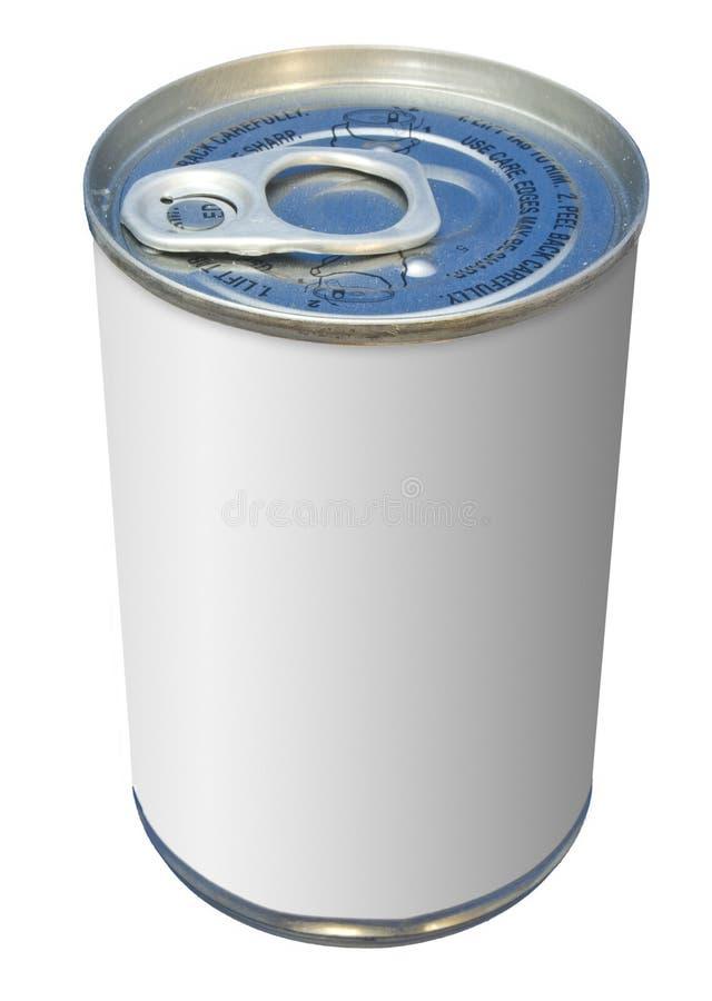 Einfache geöffnete Nahrung kann mit einem weißen Kennsatz stockfotografie