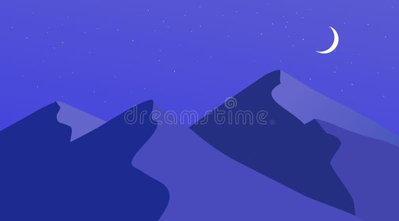 Einfache Gebirgsdesign-Grafik-flache Landschaft lizenzfreie stockbilder