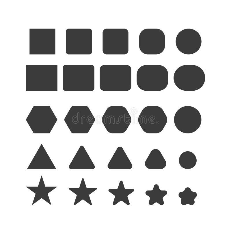Einfache geometrische Formen mit den scharfen und runden Ecken eingestellt lizenzfreie abbildung