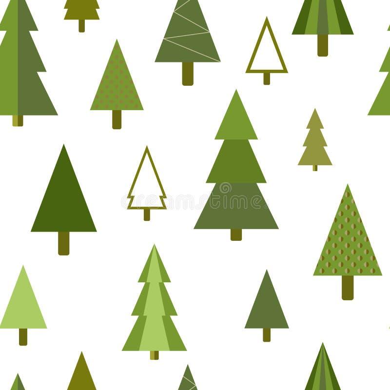 Einfache geometrische Tannen, Kiefern, nahtloser Hintergrund der Weihnachtsbäume lizenzfreie stockbilder