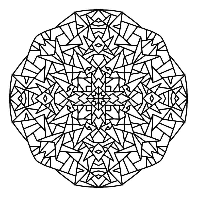 einfache geometrische und geschlossene zu färben Mandala, im weißen Hintergrund schwärzen lizenzfreie abbildung