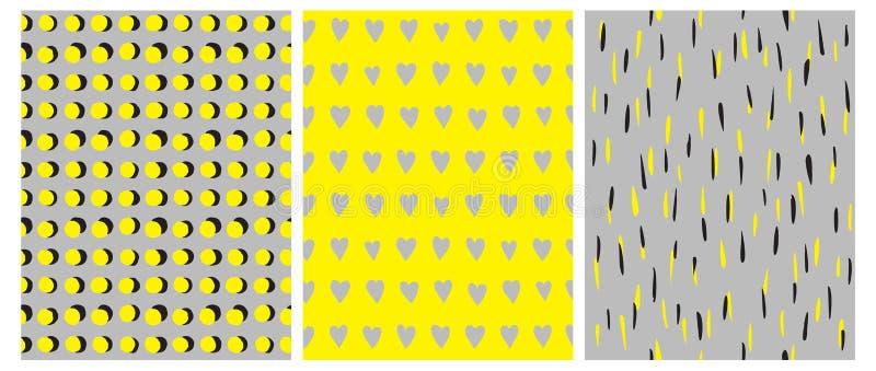 3 einfache geometrische Vektor-Muster Gelber und schwarzer Dots Isolated auf Gray Background lizenzfreie abbildung