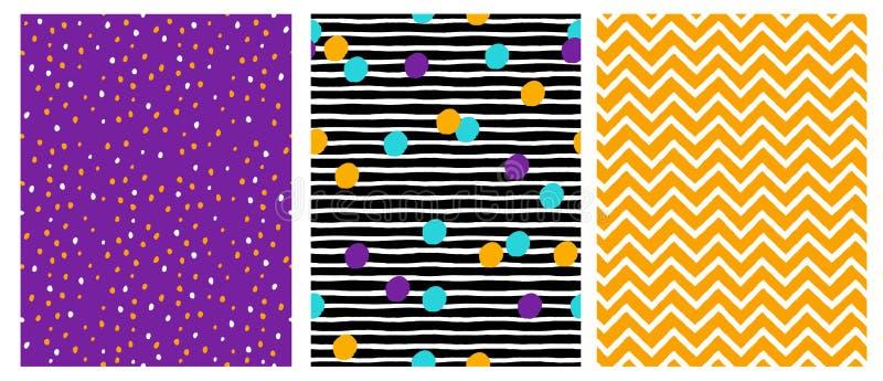 Einfache geometrische Vektor-Muster mit Streifen, Punkten, Linien und Chervron auf einem violetten, schwarzen und gelben Hintergr vektor abbildung