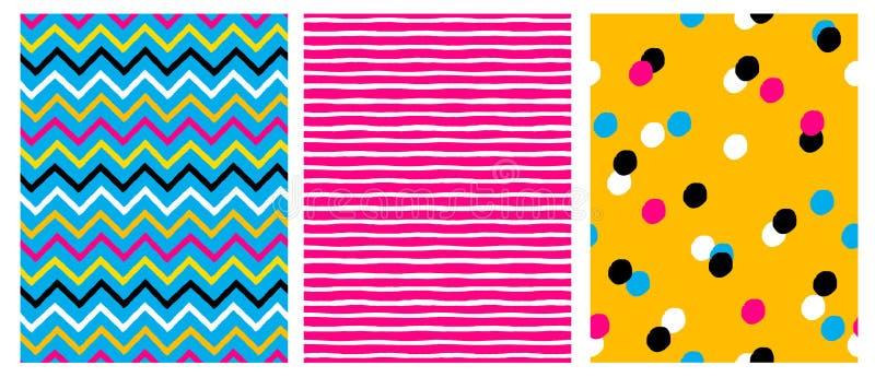 Einfache geometrische Vektor-Muster mit Streifen, Punkten und Chervron auf einem Rosa-, Blauen und Gelbenhintergrund vektor abbildung