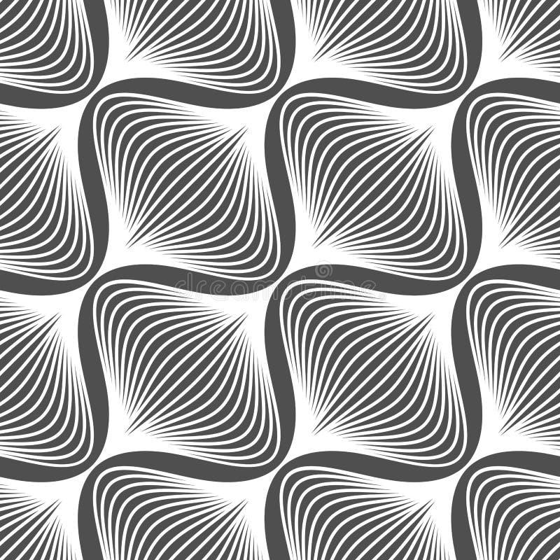 Einfache gewellte Schwarzweiss-Zwiebel formt Muster vektor abbildung