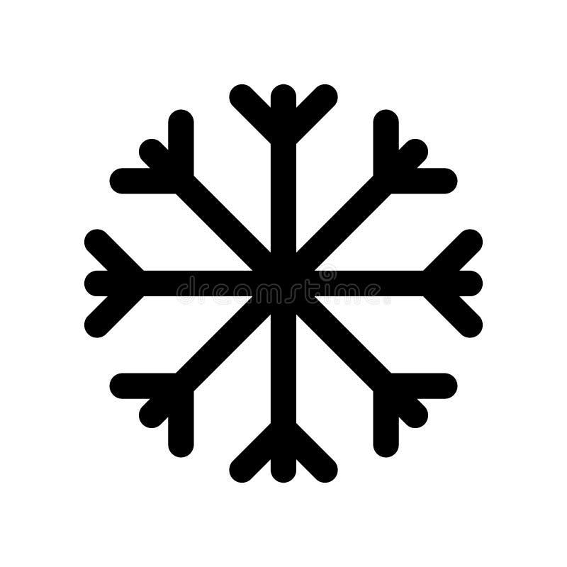 Einfache grafische schwarze flache Vektorschneeflockenikone lokalisiert; elemen lizenzfreie abbildung