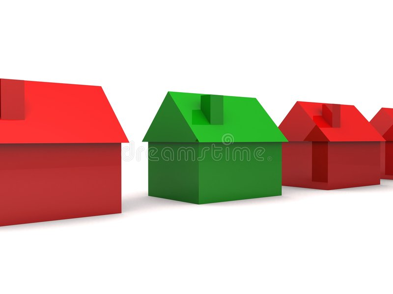 Einfache Häuser 3d vektor abbildung