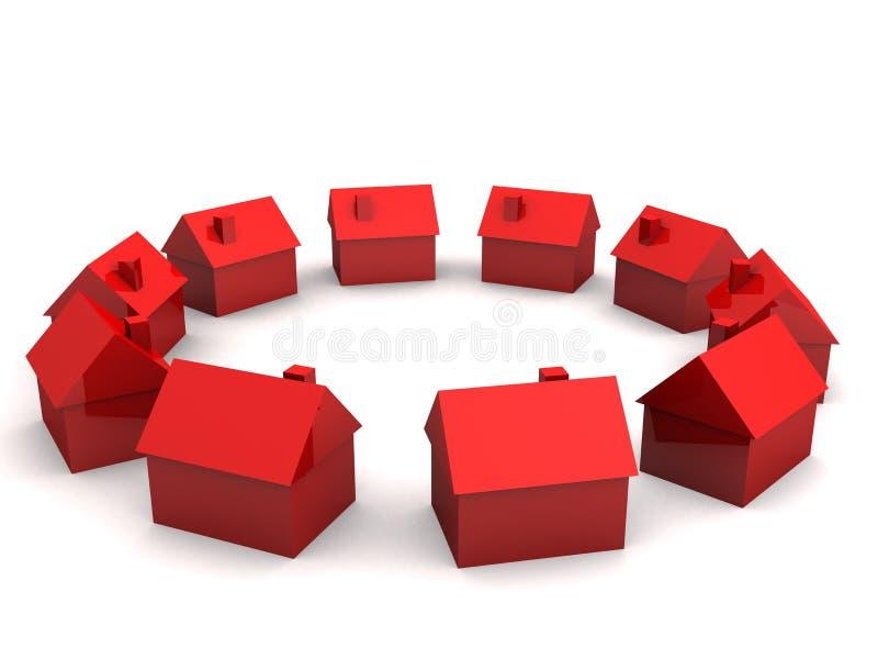Einfache Häuser 3d stock abbildung
