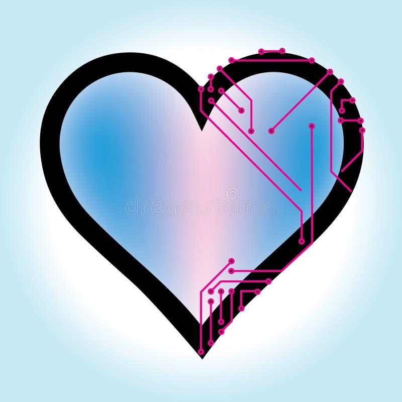 Einfache Herzvektorillustration mit gedruckten Schaltungen vektor abbildung