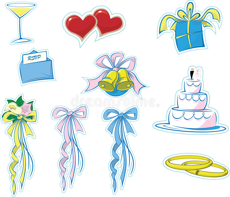 Einfache Hochzeits-Ikonen #1 lizenzfreie abbildung
