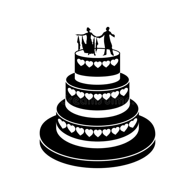 Einfache Ikone der Hochzeitstorte lizenzfreie abbildung